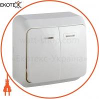Выключатель 2-кл. с подсветкой BЗ10-2-1-Cm-W (белый)