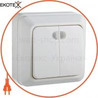 Выключатель 2-кл. с подсветкой BЗ10-2-1-Ct-W (белый)
