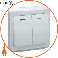 ВС10-2-1-ВБ Выключатель 2кл 10А с инд. ВЕГА (белый) IEK