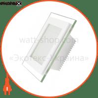 EUROLAMP LED Светильник квадратный стекло Downlight 6W 4000K (30)