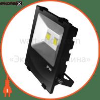 EUROELECTRIC LED COB Прожектор чорний з радіатором 100W 6500K modern