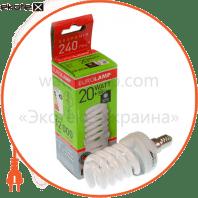 t2 spiral 20w 4100k e14 энергосберегающие лампы eurolamp Eurolamp