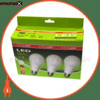 LED лампа A60 10W E27 4000K (мультипак - 3шт.) Eurolamp