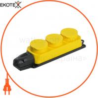 РБ33-1-0м Розетка тримісна ОМЕГА IP44 жовта IEK