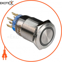 Кнопка металлическая ENERGIO TYJ19-272 с подсветкой без фиксации 220В зеленая 2NO+2NC