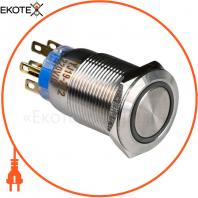 Кнопка металлическая ENERGIO TYJ19-272 с подсветкой без фиксации 220В красная 2NO+2NC