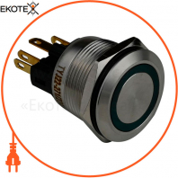 Кнопка металлическая ENERGIO TYJ22-271 с подсветкой без фиксации 220В зеленая NO+NC