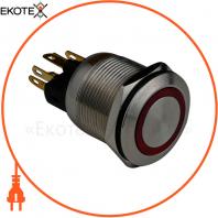 Кнопка металлическая ENERGIO TYJ19-371 с подсветкой с фиксацией 220В красная NO+NC