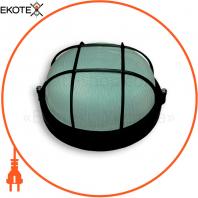 Светильник 60w круг влагозащищенный черный с решеткой