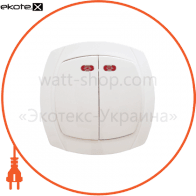 Выключатель 2-кл. с подсветкой ВВсб10-2-1-Ov-W арт. ВВсб10-2-1-Ov-W
