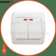 Выключатель 2-кл. с подсветкой ВВсб10-2-1-Sq-W