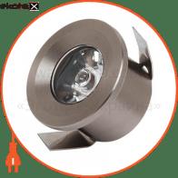 Світильник врізний круг,корпус метал d-33mm ip 20 POWER LED 1W 2700K/4200K/6400K 80Lm, колір - мат.хром/хром (220-240v)