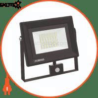 Прожектор с дат. движения SMD LED 50W 6400K 4000Lm 220-240V IP65 черный