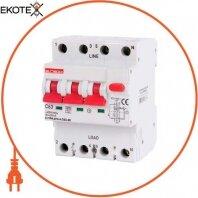Выключатель дифференциального тока с защитой от сверхтоков e.rcbo.pro.4.C63.30, 3P+N, 63А, С, тип А, 30мА