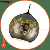 Світильник підвісний E27 плафон скло 3D ефект круглий хром