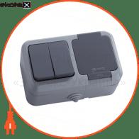 Вимикач 2-клавішний+розетка з кришкою