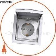 Asfora Розетка одинарное, боковое заземление 16A lid, shutters IP44 белый