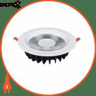 Светильник встраиваемый LED 20W 6400K 1470Lm 85-265V d-195мм белый круг.