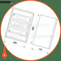 шафа удароміцна з абс-пластика e.plbox.400.500.175.54m.tr, 400х500х175мм, ip65 з прозорими дверцятами та панеллю під 54 модулі
