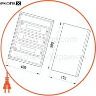 шафа удароміцна з абс-пластика e.plbox.400.500.175.54m.tr, 400х500х175мм, ip65 з прозорими дверцятами та панеллю під 54 модулі шкафы пластиковые противоударные Enext CP5114
