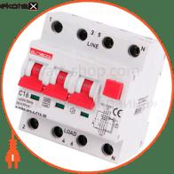 Выключатель дифференциального тока с защитой от сверхтоков e.rcbo.pro.4.C16.30, 3P + N, 16А, С, тип А, 30мА