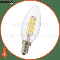Лампа филамент LED 4W свеча Е14 2700К 420Lm 220-240V
