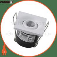 Світильник врізний поворотн. квадрат,корпус метал 40х40mm ip 20 POWER LED 1W 4200K 70Lm, колір - білий/мат.хром (85-265v)