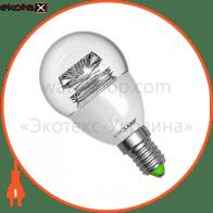 LED лампа G45 5W E14 3000K прозора Eurolamp