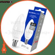 LED лампа GLOBAL C37 CL-F 5W яркий свет 220V E14 AP (1-GBL-134) (NEW)