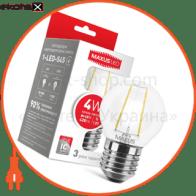 LED лампа MAXUS (filam), G45, 4W, теплый свет,E27 (1-LED-545)