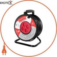 Удлинитель e.es.roll.4.50.z.b. барабанного типа, на катушке c ручкой, 4 гнезда , 50м с з/к защитой от перегрузки, baby protect, провод 3х1,5кв.мм