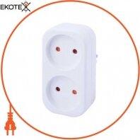 Тройник бытовой e.socket.002.10.2, 2 гнезда, 2P, 10А, без з/к