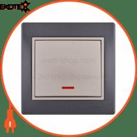 Выключатель с подсветкой 701-2930-111 Цвет Темно-серый/Жемчужно-белый металлик 10АХ 250V~