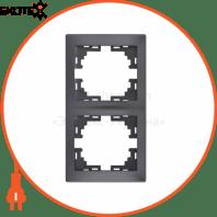 Рамка 2-а вертикальна б/вст 701-2930-152 Колір Темно-сірий/Перлинно-білий металік 10АХ 250V~