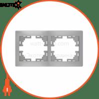Рамка 2-а горизонтальна б/вст 701-1010-147 Колір Сірий металік 10АХ 250V~