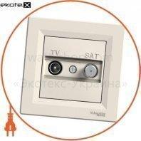 Asfora TV-SAT Розетка индивидуальная 1дБ кремовый