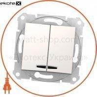 Sedna Переключатель 1 полюсный для 2 цепей 10AX световой индикатор, без рамки кремовый