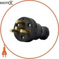 Силовая вилка переносная каучуковая e.plug.rubber.030.25, 4п., 25А
