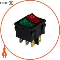 Клавишный переключатель ENERGIO KCD1-6-2101N Gr+Rd/Bk ON-OFF 2 клавиши с подсветкой