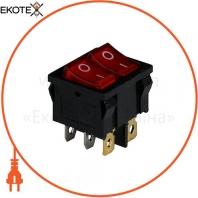 Клавишный переключатель ENERGIO KCD1-6-2101N Rd/Bk ON-OFF 2 клавиши с подсветкой
