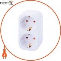Тройник бытовой e.socket.002.16.3, 2 гнезда, 2P+PE, 16А, с з/к