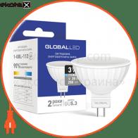 LED лампа GLOBAL MR16 3W яркий свет 220V GU5.3 (1-GBL-112) (NEW)