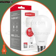LED лампа MAXUS A70 15W 3000K 220V E27 (1-LED-567) (NEW)
