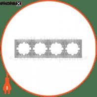 Рамка Mira, 4-ая горизонтальная без вставки, металлик серый (701-1000-149)