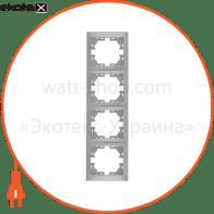 Рамка Mira, 4-ая вертикальная без вставки, металлик серый (701-1000-154)