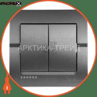 Выключатель двухклавишный DERIY без подсветки 10 А 250В темно-серый металлик 702-2929-101