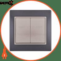 Выключатель двойной 701-2930-101 Цвет Темно-серый/Жемчужно-белый металлик 10АХ 250V~