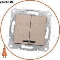 Sedna Переключатель 1 полюсный для 2 цепей 10AX световой индикатор, без рамки титан