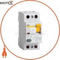 Выключатель дифференциальный (УЗО) ВД1-63 2Р 80А 30мА IEK