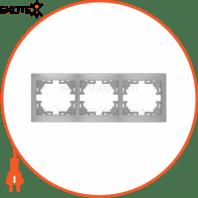 Рамка 3-а горизонтальна б/вст 701-1010-148 Колір Сірий металік 10АХ 250V~
